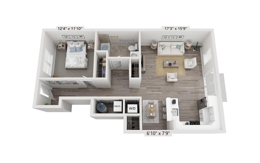 Unit 1A 1 Bedroom 1 Bath Floorplan