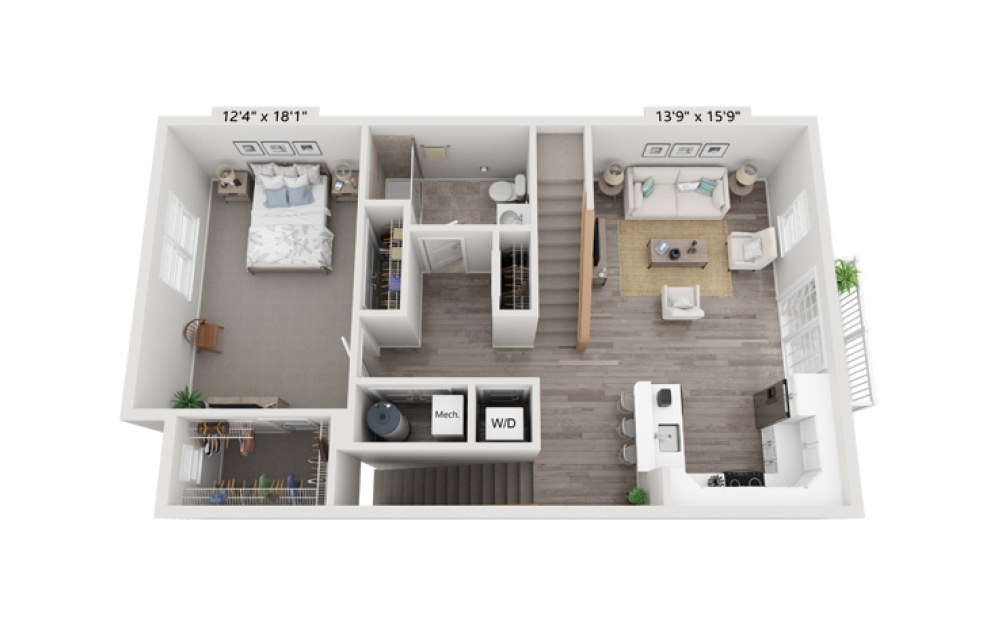 Unit 1L 1 Bedroom 1 Bath Floorplan