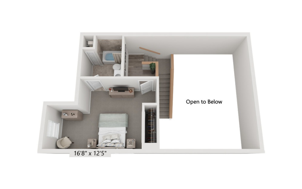 Unit 2T 2 Bedroom 2 Bath Floorplan